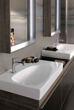 Twin Citterio Basins By Keramag Bathroom Furniture, Lighted Bathroom Mirror, Bathroom Showrooms, Double Mirror, Bathroom Mirror, Small Bathroom, Bathroom, Bathroom Design, Sink