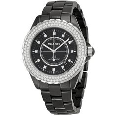 Chanel J12 Black Diamond Dial and Bezel Unisex Watch ($9,995) ❤ liked on Polyvore featuring jewelry, watches, chanel jewelry, chanel watches, water resistant watches, chanel and analog watches