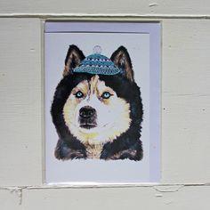 Fetch & Follow Greetings Card: Husky