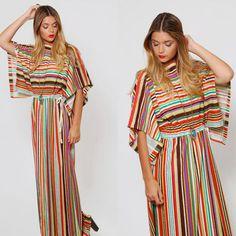 Vintage 70s Terry Cloth MAXI Dress STRIPED Beach Cover Up DOLMAN Sleeve Boho Summer Dress