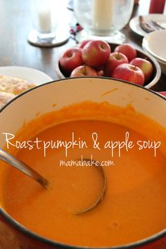 The best pumpkin soup recipe! - Roast Pumpkin & Apple Soup. I made it with red onion and used chicken stock because that was what I had in the pantry, It was delicious.