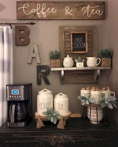 34 Interesting Diy Mini Coffee Bar Design Ideas For Your Home. If you are looking for Diy Mini Coffee Bar Design Ideas For Your Home, You come to the right place. Here are the Diy Mini Coffee Bar Des. Kitchen Decor Themes, Home Decor Kitchen, Diy Kitchen, Coffee Kitchen Decor, Country Kitchen, Rustic Kitchen, Kitchen Art Walls, Kitchen Coffee Bars, Coffe Decor