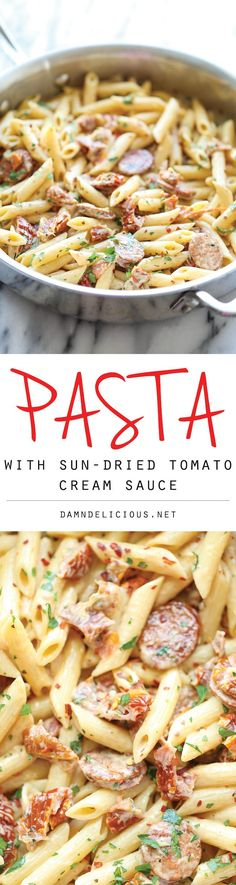 Pasta with Sun-Dried Tomato Cream Sauce - A super easy pasta dish with the most amazing, creamiest sun-dried tomato sauce ever, made in less than 30 min! Pinterest@Sagine_1992 Sagine☀️