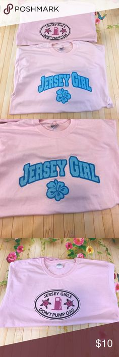 Yw jersey girl t shirts Jersey girl is a large other is xl but kinda fit the same. Jersey girl has light spot shown in photos great for breast cancer awareness of Tops Tees - Short Sleeve