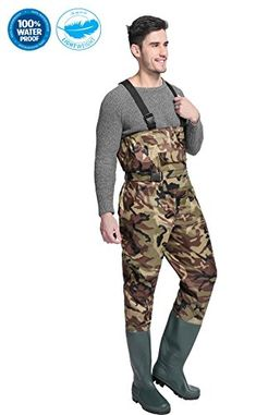 Cleated Fishing Hunting Waders For Men With Boots 2-Ply Nylon/PVC Waterproof Bootfoot Chest Wader Camouflage/ Brown 8-13  https://fishingrodsreelsandgear.com/product/cleated-fishing-hunting-waders-for-men-with-boots-2-ply-nylon-pvc-waterproof-bootfoot-chest-wader-camouflage-brown-8-13/  100% WATERPROOF:100% Waterproof and Durable rubber with stitched and taped seams LIGHTWEIGHT:Lightweight bootfoot chest fishing waders weigh 35% less than traditional rubber waders COMFORTABLE