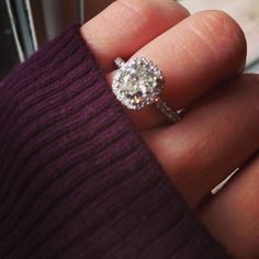 Engagement ring, cushion cut, halo diamonds #engagementring #cushioncut