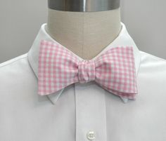 Men's Bow Tie in pink gingham pink wedding party tie by CCADesign