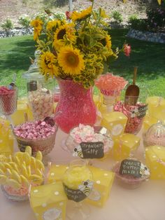 Pink and yellow candy bar at our Baby to BEE shower