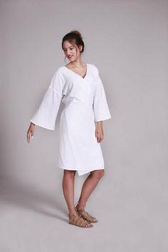 Wrap Dress White Dress Kimono Style Dress Wrap Linen Knee