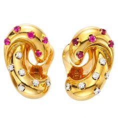 VAN CLEEF & ARPELS Retro Ruby and Diamond Gold Earrings at 1stdibs