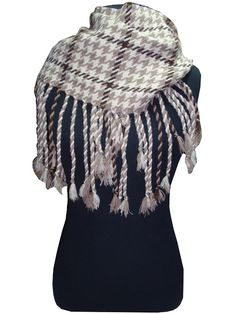 heavy scarf with sketch pattern and fringe._fashion woman accessories.