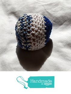 Solid Blue Solid White and Variegated Blue and White Striped Hand Crocheted…