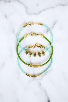 Easy leather bracelets via @elsiecake