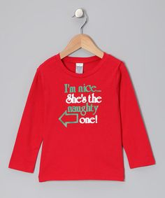 Red 'She's the Naughty One' Left Tee - Toddler & Girls #zulily #zulilyfinds