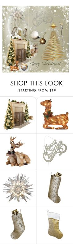 """Holiday Sparkle"" by kotnourka ❤ liked on Polyvore featuring interior, interiors, interior design, home, home decor, interior decorating, National Tree Company, Bethany Lowe, GE and Helen Moore"