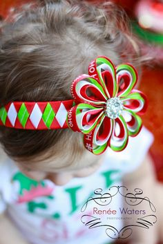 Christmas Woven Headband Green Red by AdornedCreations on Etsy, $11.99