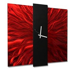 Magnificent Modern Ruby Red Jewel Tone  Black Abstract Metallic Wall Clock  Contemporary TimePiece Home Accent  Functional Metal Art  Lavish Mechanism Clock By Jon Allen 24inch >>> Be sure to check out this awesome product.
