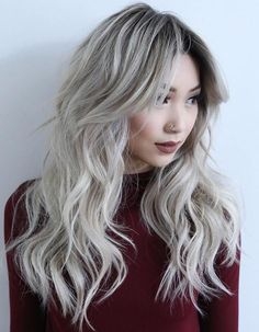 Ash Blonde Layered Hairstyle For Long Hair