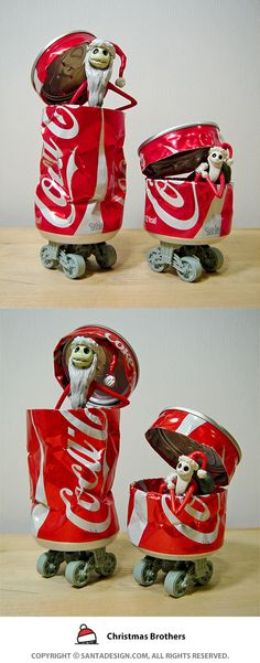 #Recycle #Toy #CAN #DIY / #Christmas #Brothers / #Coke #CocaCola #SANTA #Robot #Machine / 2013