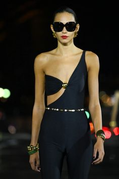Saint Laurent SS22 Was All About Statement After-Dark Accessories | British Vogue After Dark, Saint Laurent, One Shoulder, Shoulder Dress, Anthony Vaccarello, Wet Look, Style And Grace, Fashion Pictures, Jumpsuit