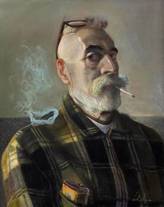 Artist dramatist and stage designer John Patrick Byrne (Scotish:1940) -  Self Portraits