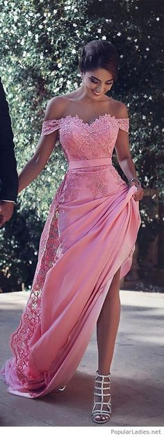 Pink Prom Dress - coral pink - lace detail - floor length - long gown