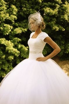Modest tulle wedding gown