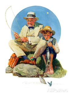 """Catching the Big One"", August 3,1929 Lámina giclée por Norman Rockwell en AllPosters.es"