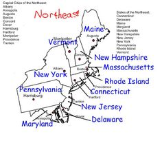 Northeast Region Info By Jill Russ Northeast States Pinterest - Map of northeast us with capitals