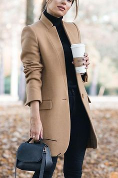High Collar Button Pocket Coat - Winter Outfits for Work Fashion Mode, Look Fashion, Winter Fashion, Fashion Trends, Christmas Fashion, Ladies Fashion, Fashion Details, Trendy Fashion, Spring Fashion