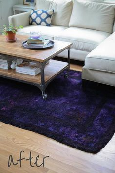 Over-Dye DIY of a rug. Totally doable. She did it in her curbside recycling bin.