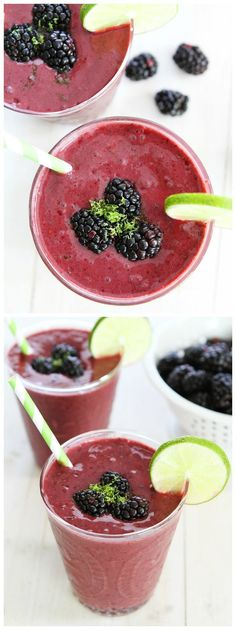 Blackberry Lime Smoothie Recipe on http://twopeasandtheirpod.com This healthy smoothie is so refreshing and it's super easy to make!