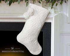 White Christmas Stocking White Stocking White by MeredithRosePetal