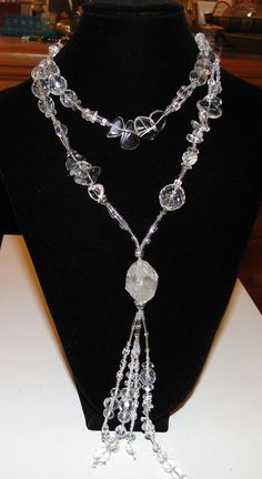 Crystal Lariat necklace with double terminated quartz crystal (center) facebook.com/nvjewelry