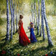 La Promenade - Painting, cm by DIMA DMITRIEV - Figurative Art, girls summer yellow childhood sisters retro dima promenade forest dressed hats flowers Image Nature, Painting People, Dress Hats, Mother And Child, Summer Girls, Strapless Dress Formal, Art Photography, Art Gallery, Fine Art