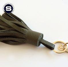 **JungleGreen**+Deluxe+Taschenanhänger+Echtleder+von+superschnixe+auf+DaWanda.com