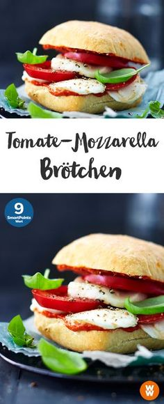 Tomaten-Mozarella-Brötchen | 9 SmartPoints/Portion, Weight Watchers, schnell fertig in 5 min.