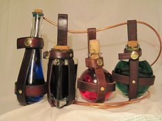 Leather potion bottle holder  Brown Teardrop by thebrasswardrobe, $18.00