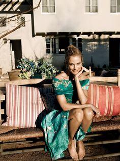 Carolyn Murphy at home in Los Angeles photographed by Annemarieke Van Drimmelen, Vogue, March 2012.