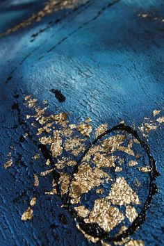 Night ocean I Original Painting Fluid 50x 50 cm blue gold