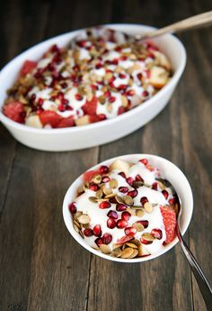 Fall Fruit & Yogurt Salad - made with pears or apples, yogurt, red grapefruit, pomegranate seeds and roasted pepitas.  Crazy good! (I have also made this with clementines or even canned mandarin oranges, and it's great.)