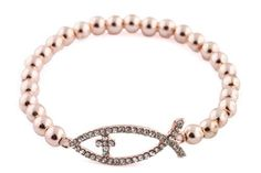 Rose Gold Iced Out Jesus Fish with Cross Stretch Beaded Bracelet JOTW. $2.95. Great Quality Jewelry!. The Fish measures .05 inches from top to bottom and 1.25 inches from left to right.. 100% Satisfaction Guaranteed!