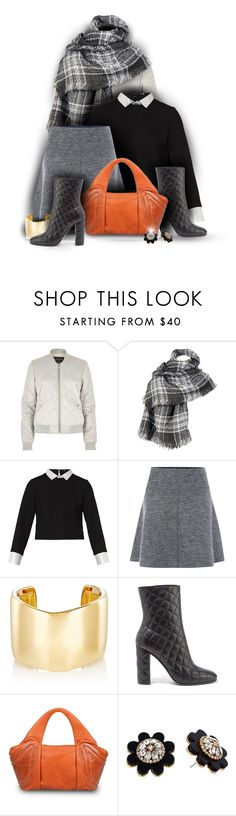 """""""Plaid and a pop of color"""" by amymrbll ❤ liked on Polyvore featuring River Island, Wilsons Leather, Maje, White Stuff, Jennifer Fisher, Gianvito Rossi, GRETCHEN and Kate Spade"""