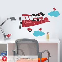 Nursery wall Idea... Kids Airplane Wall Decal Twin Seater Baby Nursery by graphicspaces, $35.00