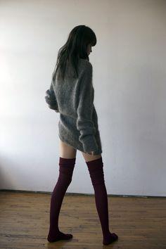 oversized sweater + long socks.