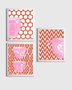 Ikat Nursery Girl Teacup Princess English Pantone by ZeppiPrints, $48.00