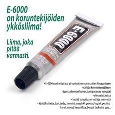 E-6000 -liima on koruntekijöiden ykkösliima! E-6000 on se liima, joka pitää varmasti. Tätä liimaa käytetään useimmissa koruohjeissa ympäri maailman. Katso tarkemmin tästä: bit.ly/E-6000