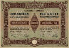 Živnostenská banka (Gewerbebank). Akcie na 100x 500 Korun (50 000 K). Praha, 1941.