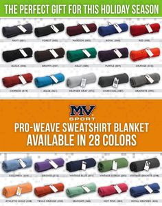 Custom Printed or Embroidered Sweatshirt Blankets. Rolled & Tied with a Custom Hang Tag perfect for the holidays! $32.50/each not including decoration costs. #dlpromotions dl-promotions.com