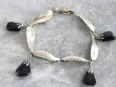 Blue Goldstone Bracelet Vintage Lots of Sparkles Leaves on Etsy, $28.00